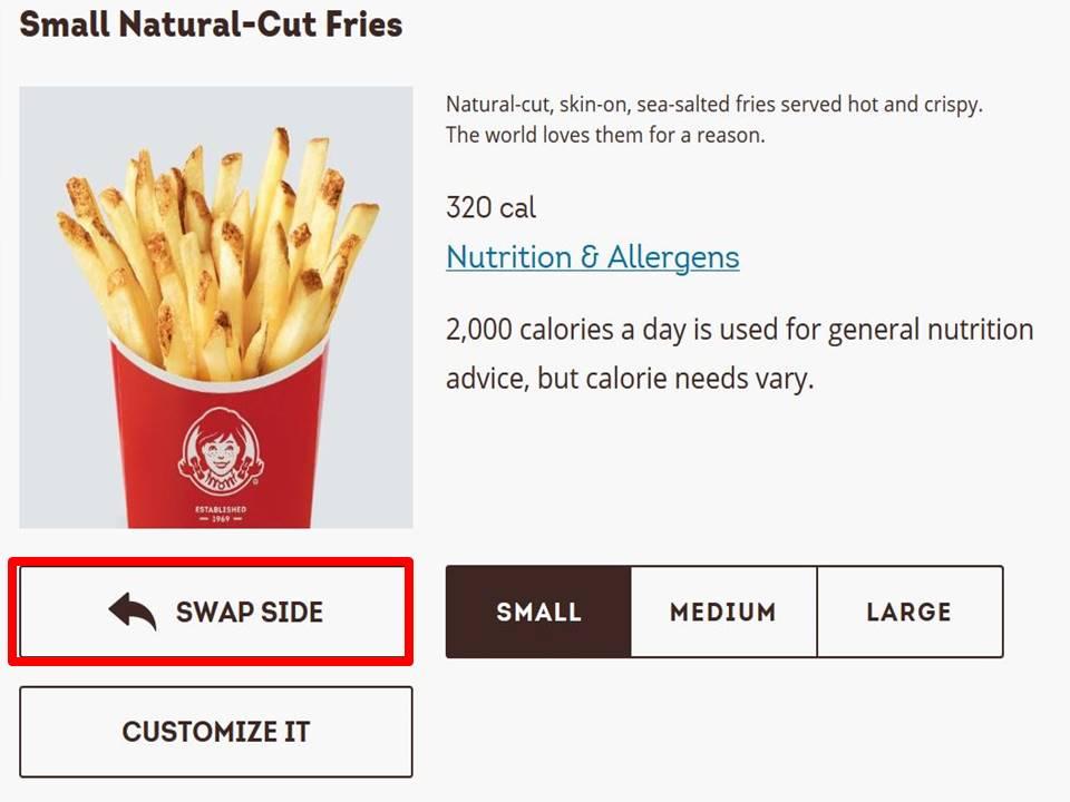 【アメリカのウェンディーズ】サイドをポテト以外に変更できる